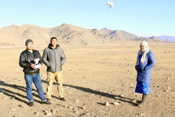 Copter flight of the ruins of the Manchu military garrison Uliastai, Zavkhan aimag, Mongolia