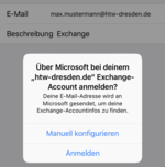 Screenshot Frage Exchange Account