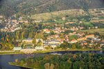 Aerial view of Pillnitz, castle park, Elbe, HTW buildings, residential buildings, vineyard, forest and meadows.